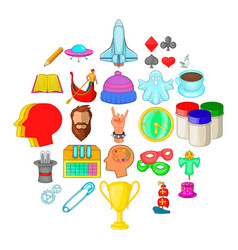 Scouting icons set cartoon style vector