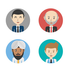 set avatars men of different diversity inside vector image