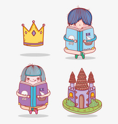 set boy and girl read book with crown and castle vector image