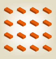 set of 3d bricks in isometric vector image