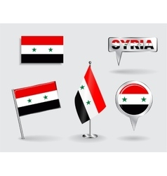 Set of Syrian pin icon and map pointer flags vector