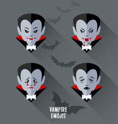 set of vampire emojis for halloween vector image