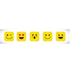 set square emoticons or emoji icons vector image