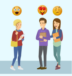 smiling teenager girls and boy with smiley vector image
