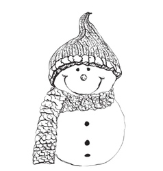 Snowman icon in doodle sketch lines Snow winter vector image