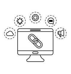 Social media marketing with desktop computer vector