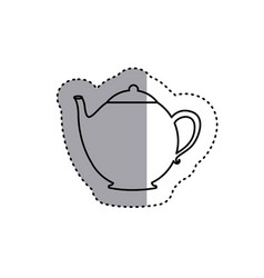 Sticker silhouette teapot icon drink vector