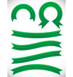 Striped green banner set - semicircle circle vector