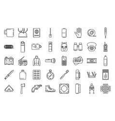 Survival activity icons set outline style vector