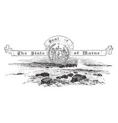 The united states seal of maine vintage vector