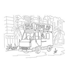 van bus with advertising sketch vector image