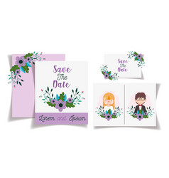 wedding couple flowers save date invitation vector image