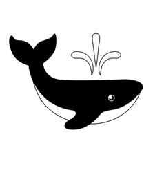 whale is big black and white image vector image