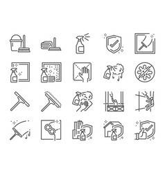 Window cleaning line icon set vector