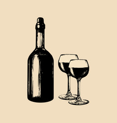 wine bottle and glasses vector image