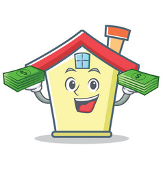 With money house character cartoon style vector