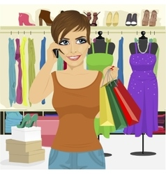 Woman shopping in store vector