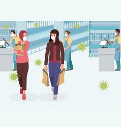 women in supermarket wearing medical mask vector image