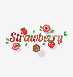Word strawberry design in paper art style vector