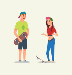 Young sportsmanlike skaters boy and girl speaking vector