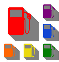 gas pump sign set of red orange yellow green vector image