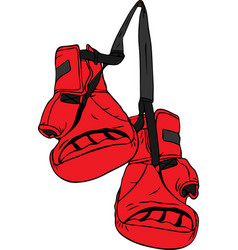 pair of red boxing gloves hanging on a nail vector image