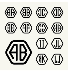 Set 1 create monograms two letters in a hexagon vector