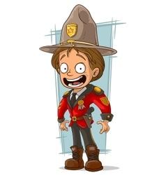 Cartoon canadian ranger in red uniform vector