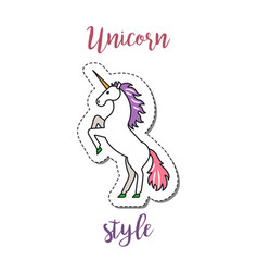 fashion patch element unicorn vector image