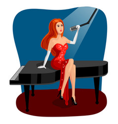 jazz singer woman on grand piano cartoon vector image vector image