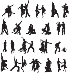 silhouettes of couples ballroom dancing vector image vector image