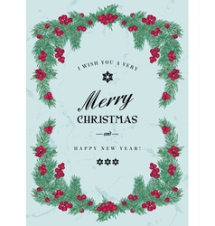 Vintage Christmas frame with pine branches vector image vector image