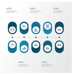 Auto outline icons set collection of crossover vector