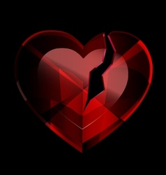 broken heart-crystal vector image