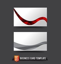 Business Card template set 013 Red curve wave vector image vector image