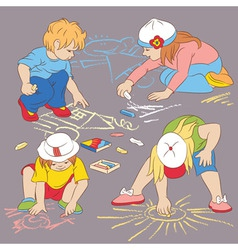 children drawing with chalk vector image