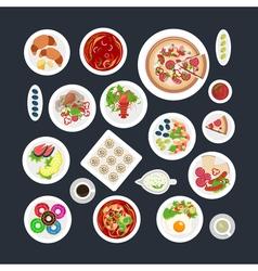 Food Set Top View vector image
