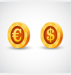 gold coin of dollar anf euro vector image vector image