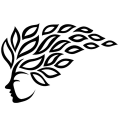 Icon face and leaf tattoo isolated vector image