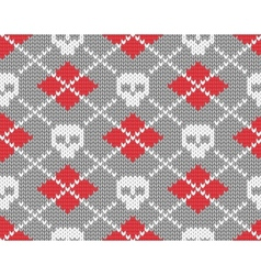 Knitted pattern with skulls vector image vector image