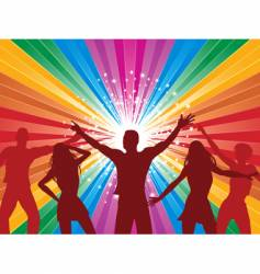 rainbow starburst and dancers vector image vector image