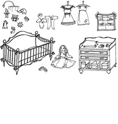 baby girl room 1 vector image