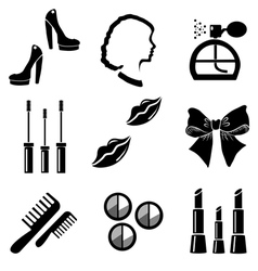 Beauty and makeup icons set vector image