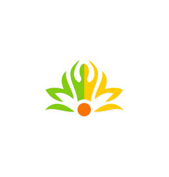 beauty spa meditation people flower logo vector image