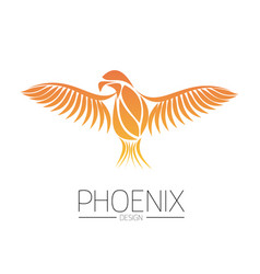 flaming phoenix bird with wide spread wings in the vector image