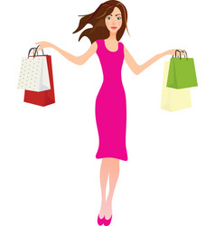girl holding shopping bags vector image vector image