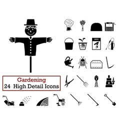 Set of 24 Gardening Icons vector image vector image