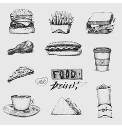 Set with fast food Sketch vector image vector image