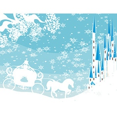 Winter landscape with castle and carriage vector image vector image