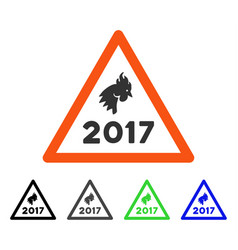 2017 rooster danger flat icon vector